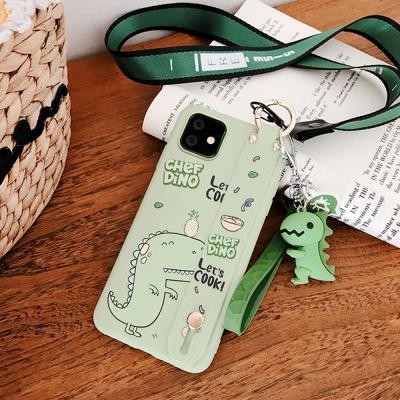 아이폰11 프로 MAX XR XS 8 7 플러스 귀여운 파스텔 공룡 캐릭터 스트랩 목걸이줄 커플 젤리 핸드폰 케이스