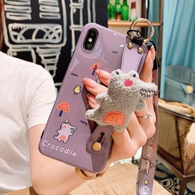 아이폰11 프로 맥스 pro max xr xs 8 7 귀여운 악어 캐릭터 인형 스트랩 유광 실리콘 커플 핸드폰 케이스