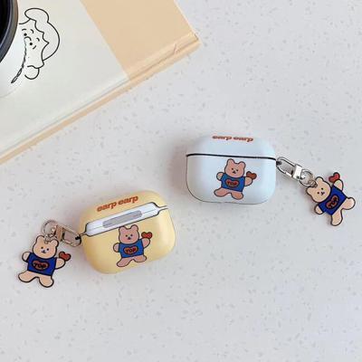 에어팟 1 2 3 프로 귀여운 커플 하트 곰돌이 캐릭터 슬림핏 유광 하드 케이스 키링 세트 철가루방지스티커