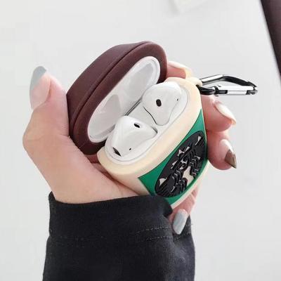 에어팟1 에어팟2 특이한 별다방 컵 실리콘 충전 케이스 키링 고리 세트 철가루스티커 무선 이어폰 악세사리