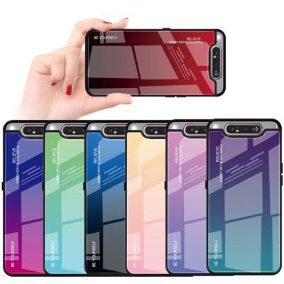 그라데이션 갤럭시 a80 a90 5G a50 a70 예쁜 강화유리 슬림 하드 범퍼 핸드폰 케이스