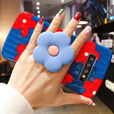 갤럭시 노트10 9 S10 S9 S8 플러스 예쁜 플라워 핸드 스마트 그립톡 거치대 꽃 패턴 젤리 케이스