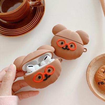 에어팟 1 2 3 프로 귀여운 안경쓴 곰돌이 캐릭터 커플 실리콘 충전 케이스 철가루스티커 세트