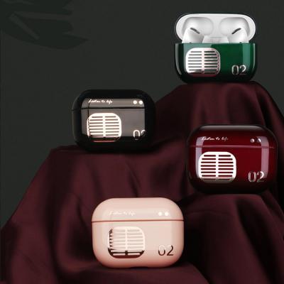 철가루스티커/에어팟프로 3세대 레트로 라디오 유광 젤하드 커플 케이스/무선 충전/생활방수