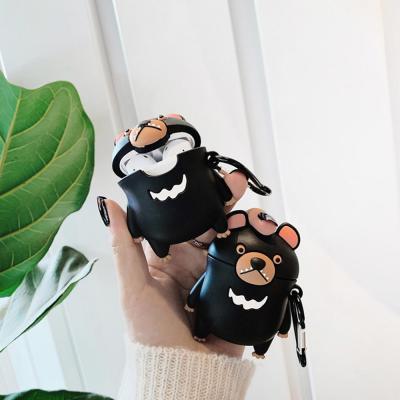 에어팟 1/2세대 귀여운 블랙 곰돌이 인형 커플 실리콘 충전 케이스/키링/무선 이어폰/철가루스티커