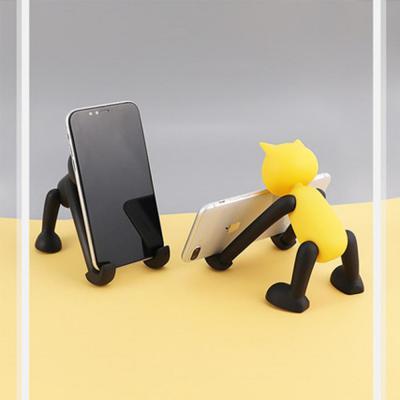 긴팔 고양이 피규어 휴대폰 거치대/핸드폰 태블릿 각도조절 스탠드 책상/탁상용/사무용품/선물/온라인 수업