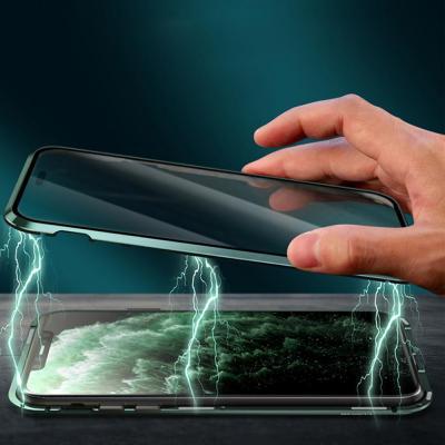 아이폰11 프로 맥스 마그네틱 풀커버 강화유리 컬러 가죽 백커버 카메라보호 메탈 범퍼 하드 케이스