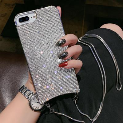 아이폰11 pro max xr xs SE2 8 7 plus 블링블링 큐빅 체인 목걸이 핸드폰줄 크로스 스트랩 젤리 케이스