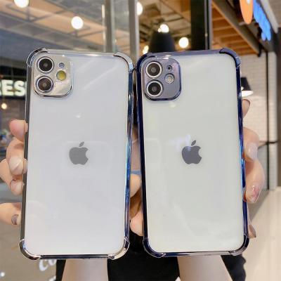 아이폰11 pro max xr xs 8 7 plus 메탈 컬러 라인 에어쿠션 범퍼/카메라 보호/투명 젤리 핸드폰 케이스