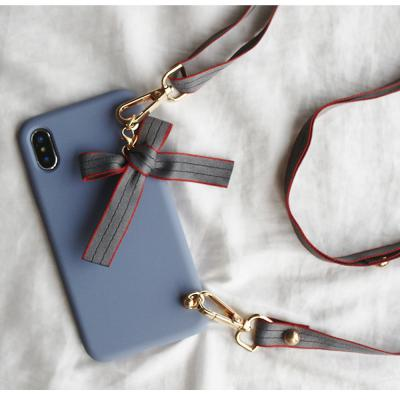 아이폰11 pro max xr xs se2 8 7 귀여운 리본 스트라이프 스트랩 핸드폰줄 목걸이 파스텔 무지 젤리 케이스
