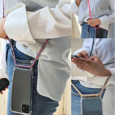 아이폰 SE2 8 7 플러스 크로스 넥스트랩 핸드폰줄 목걸이 투명 젤리 실리콘 케이스/분실방지/여행용