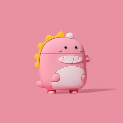 에어팟 케이스 1/2세대 귀여운 통통 커플 공룡 무선 충전 이어폰 실리콘 커버/특이한 캐릭터/철가루스티커