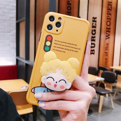 아이폰 se2 11 pro max xr xs 8 7 귀여운 소녀 캐릭터 그립톡 세트 카메라보호 실리콘 범퍼 핸드폰 케이스