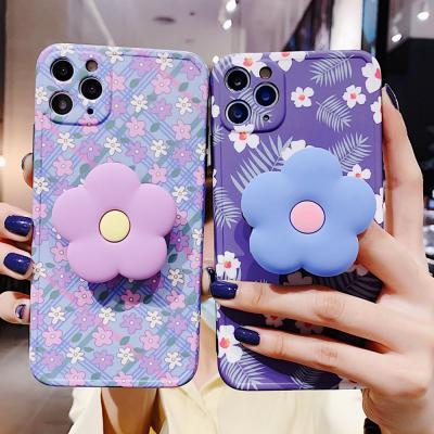 아이폰 se2 11 pro max xr xs 8 7 귀여운 보라꽃 패턴 그립톡 세트 카메라보호 실리콘 범퍼 핸드폰 케이스