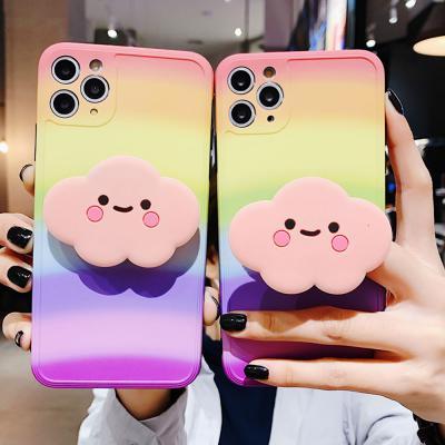 아이폰 se2 11 pro max xr xs 8 7 매트 무지개 귀여운 구름 그립톡 카메라보호 실리콘 범퍼 핸드폰 케이스