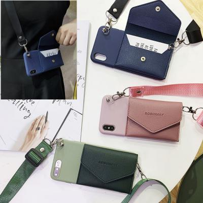 아이폰12 mini pro max 11 se2 xr xs 8 파스텔 투컬러 가죽 카드 지갑 목걸이 핸드폰줄 스트랩 젤리 케이스