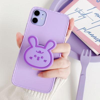 아이폰se2 11 pro max xr xs 8 7+ 귀여운 곰돌이 토끼 그립톡 세트/매트 퍼플 컬러 무지 젤리 범퍼 케이스