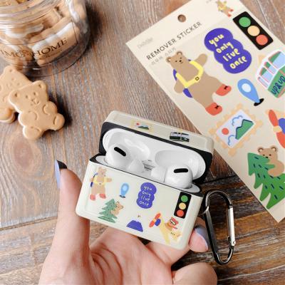 에어팟 1/2/3/프로 귀여운 커플 곰돌이 토끼 실리콘 케이스/무선 이어폰 충전 사각 커버/철가루스티커