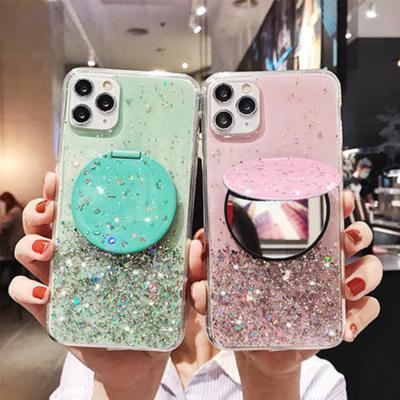 아이폰11 pro max xr xs se2 8 7 + 블링블링 펄 글리터 미러 거울 거치대 젤리 범퍼/화려한 핸드폰 케이스