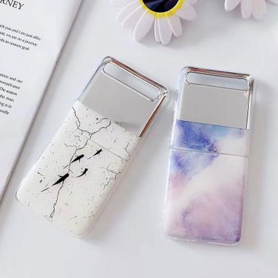 갤럭시Z플립 미러 마블 대리석 거울 슬림핏 소프트 실리콘 젤리 제트플립 예쁜 커플 핸드폰 케이스