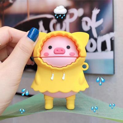 에어팟 1/2/3/프로 귀여운 노란우비 돼지 실리콘 케이스/무선 이어폰 tpu 캐릭터 충전 커버/철가루스티커