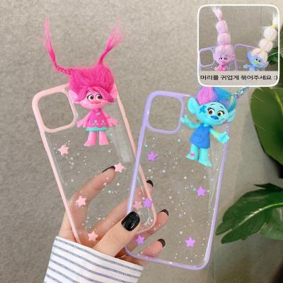 아이폰12 11 pro max xr xs se2 8 7 귀여운 트롤 인형 피규어 폰꾸미기/투명 글리터 테두리 젤리 폰 케이스