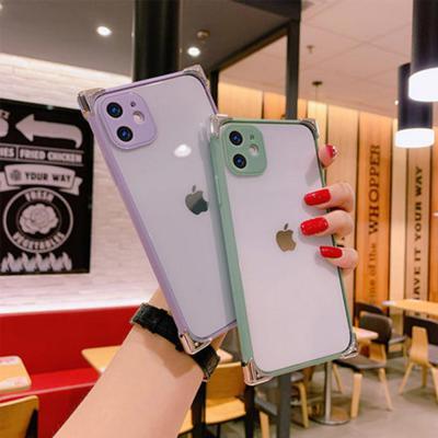 아이폰11 pro max xr xs 실버 사각 범퍼/컬러 테두리 라인/카메라 렌즈 보호/투명 하드 휴대폰 케이스