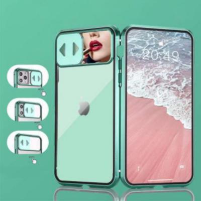 아이폰se2 11 pro max xr xs 8 7 슬라이드 도어 미러 렌즈 완벽보호 마그네틱 메탈 풀커버 강화유리 케이스