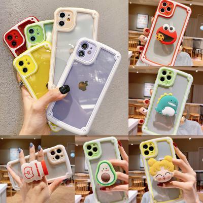 아이폰12미니 귀여운 캐릭터 그립톡 세트/카메라보호 컬러 테두리 범퍼 투명 하드 핸드폰 케이스
