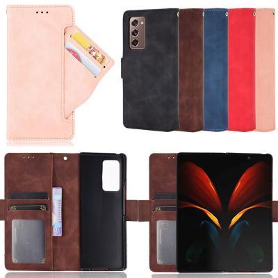 갤럭시Z폴드2 5G 빈티지 카드 수납 포켓/단색 컬러 가죽 지갑형 다이어리 플립 커버/갤럭시폴더2 폰 케이스