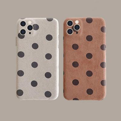 아이폰12 미니 11 프로 맥스 xr xs se2 8 땡땡이 도트 디자인스킨/패브릭 기모/카메라보호 케이스