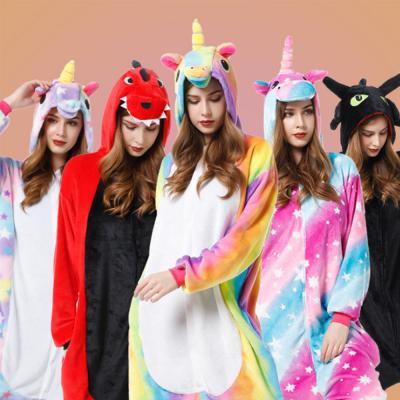 예쁜 캐릭터 동물 수면 잠옷/공룡 유니콘 커플 극세사 피치 기모 밍크 파자마/파티/겨울 실내복/홈웨어