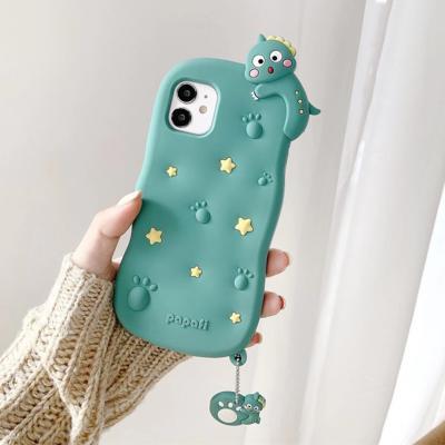 아이폰12 미니 11 pro max xs se2 8 7 입체 아기 공룡 피규어 캐릭터 핸드폰줄/귀여운 실리콘 범퍼 케이스