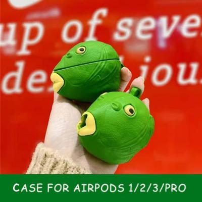 에어팟 프로/2/1 특이한 초록 물고기 괴물 실리콘 케이스/이어폰 충전 커버/철가루스티커