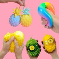 신상 클레이 말랑이 과일 무지개 공 모찌 스퀴시 볼 두리안 파인애플 주물럭 촉감놀이 장난감