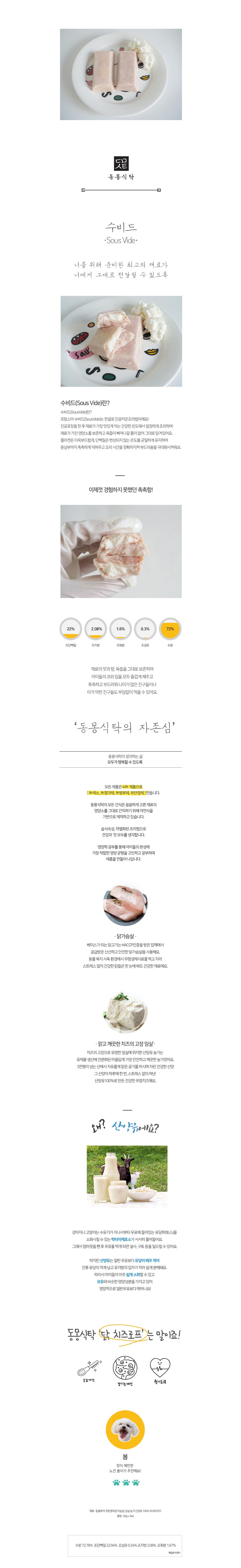 강아지 수제간식 산양유치즈 닭로프 3p,120g - 동몽식탁, 6,500원, 간식/영양제, 수제간식