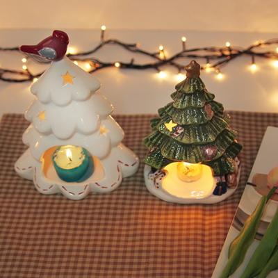 윈터 초록 트리 촛대(캔들 홀더)