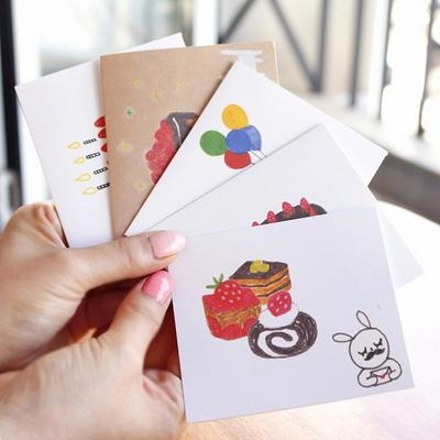 생일축하감사 미니카드(트레싱지 카드봉투)