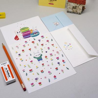 예쁜 캐릭터 편지지(컬러봉투) 16타입 1set