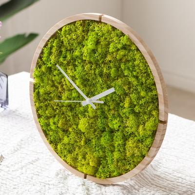 숲앤숨_원목 스칸디아모스 벽시계(30cm)-스프린그린