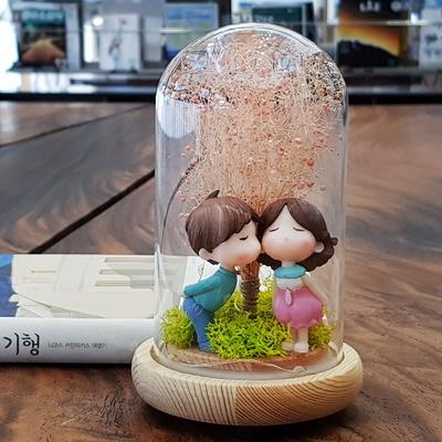 LED 유리돔 동화 무드등 - 프리저브드 드라이플라워