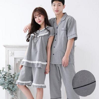 100493 남자여자잠옷 커플잠옷 반팔파자마 면 잠옷 여름잠옷