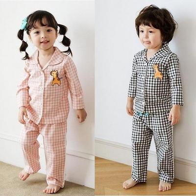100224 아동잠옷 체크잠옷 긴팔 상하세트 면잠옷