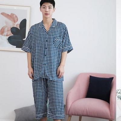 100431 남자잠옷 반팔 여름잠옷 파자마 체크 7부 레이온