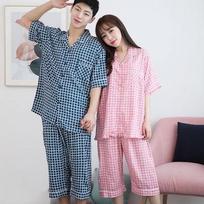100433 남자여자 커플잠옷 반팔 여름잠옷 파자마 7부 레이온