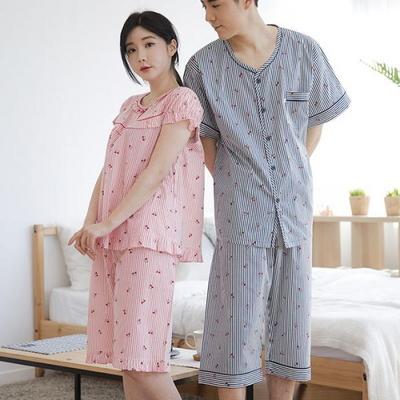 100518 남자여자잠옷 커플잠옷 반팔잠옷 여름파자마 면 60수