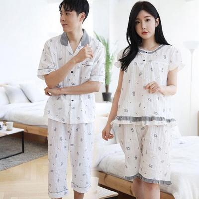 100555 남자여자 커플잠옷 반팔 여름잠옷 반바지파자마