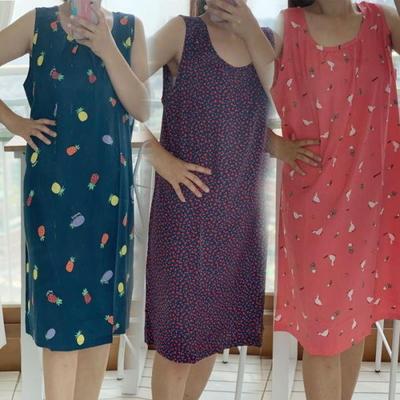 100591 여자 레이온 민소매 나시 원피스 홈웨어 잠옷