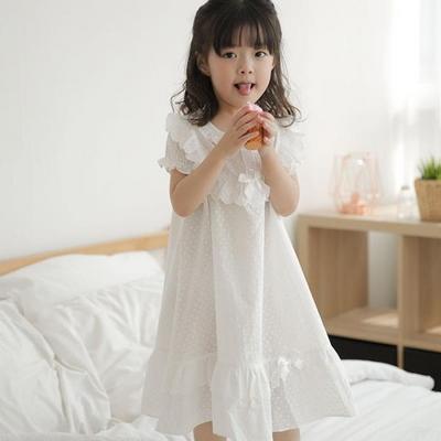 100599 여자아이 원피스잠옷 화이트 면 60수 여름잠옷
