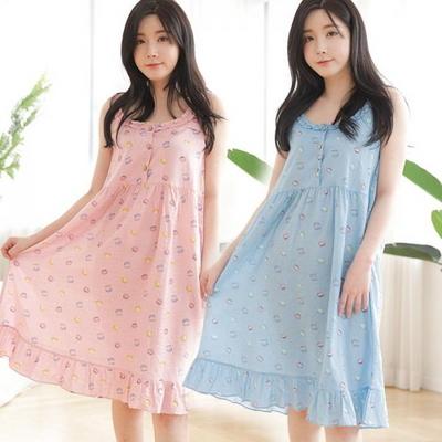 100622 여자 원피스 민소매 잠옷 실내복 홈웨어 반팔 마카롱